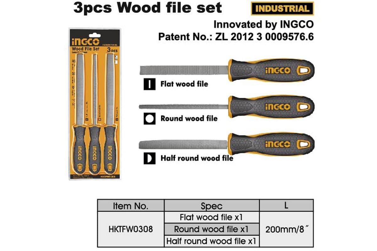 Bộ 3 dũa gỗ 200mm INGCO HKTFW0308