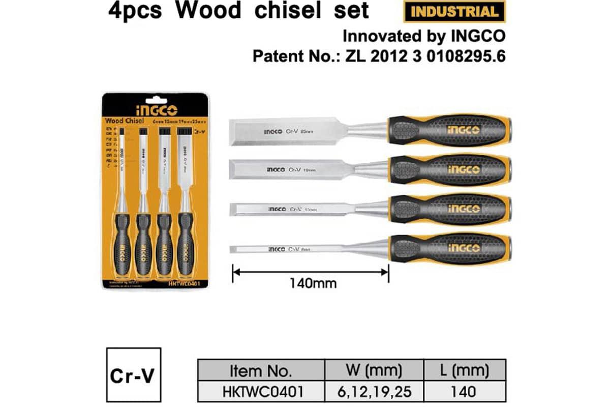 Bộ 4 đục gỗ 6-25mm INGCO HKTWC0401