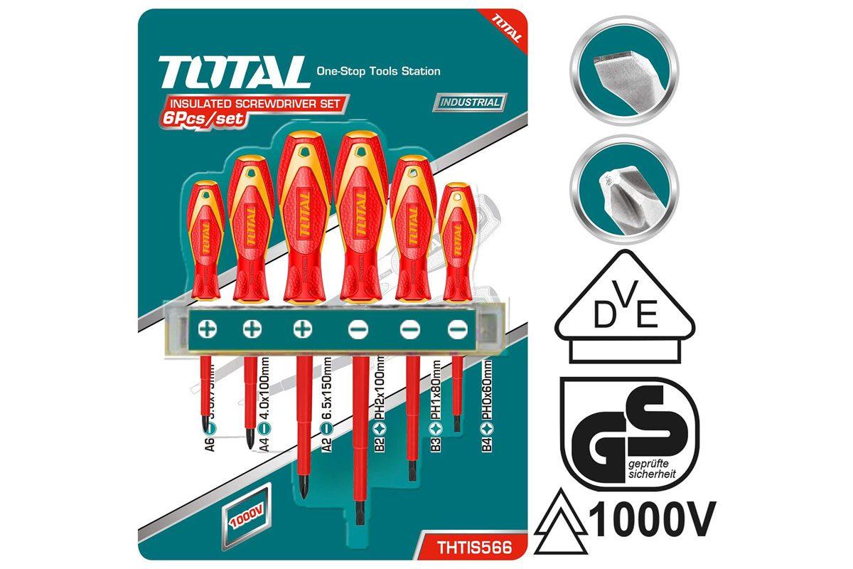 Bộ 6 tua vít cách điện Total THTIS566