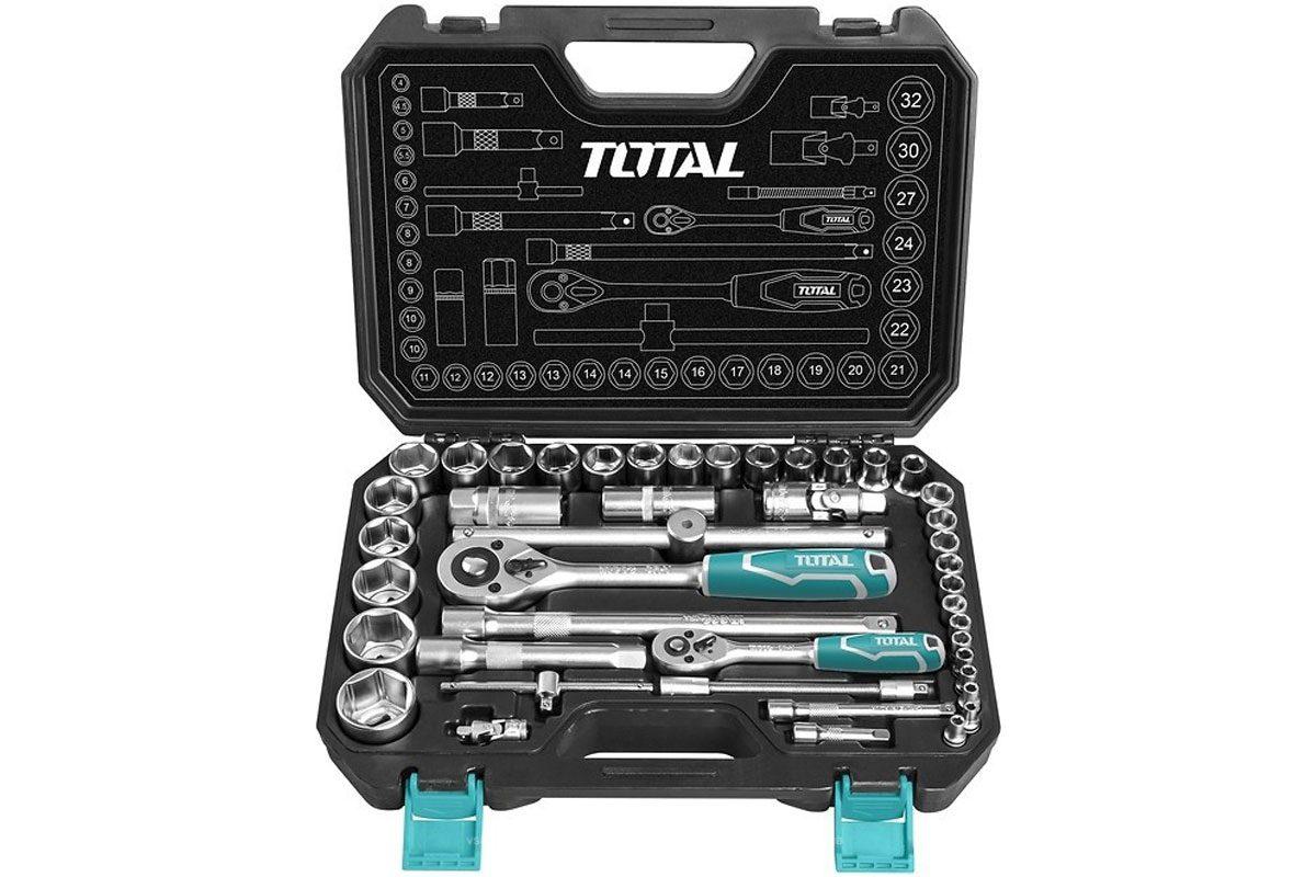 Bộ socket 44 chi tiết và cần siết 2 chiều Total THT421441