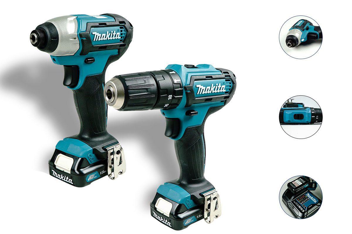 Bộ sản phẩm máy khoan búa và máy vặn vít Pin 12V Makita CLX202S