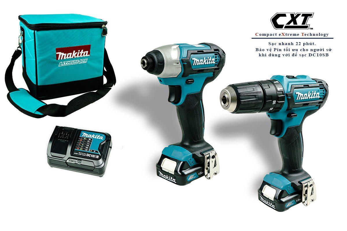 Bộ sản phẩm máy khoan búa, máy vặn vít pin 12V Makita CLX228S