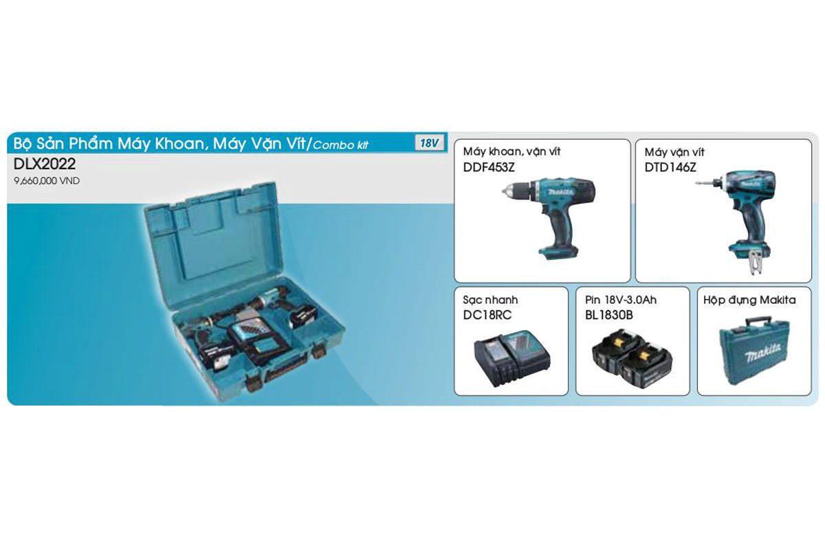 Bộ sản phẩm máy khoan và máy vặn vít pin 18V Makita DLX2022