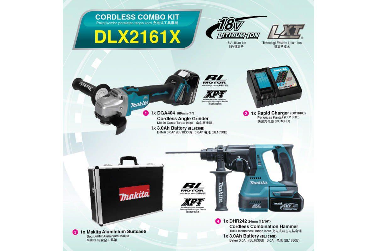 Bộ sản phẩm máy khoan đa năng và máy mài pin 18V Makita DLX2161X