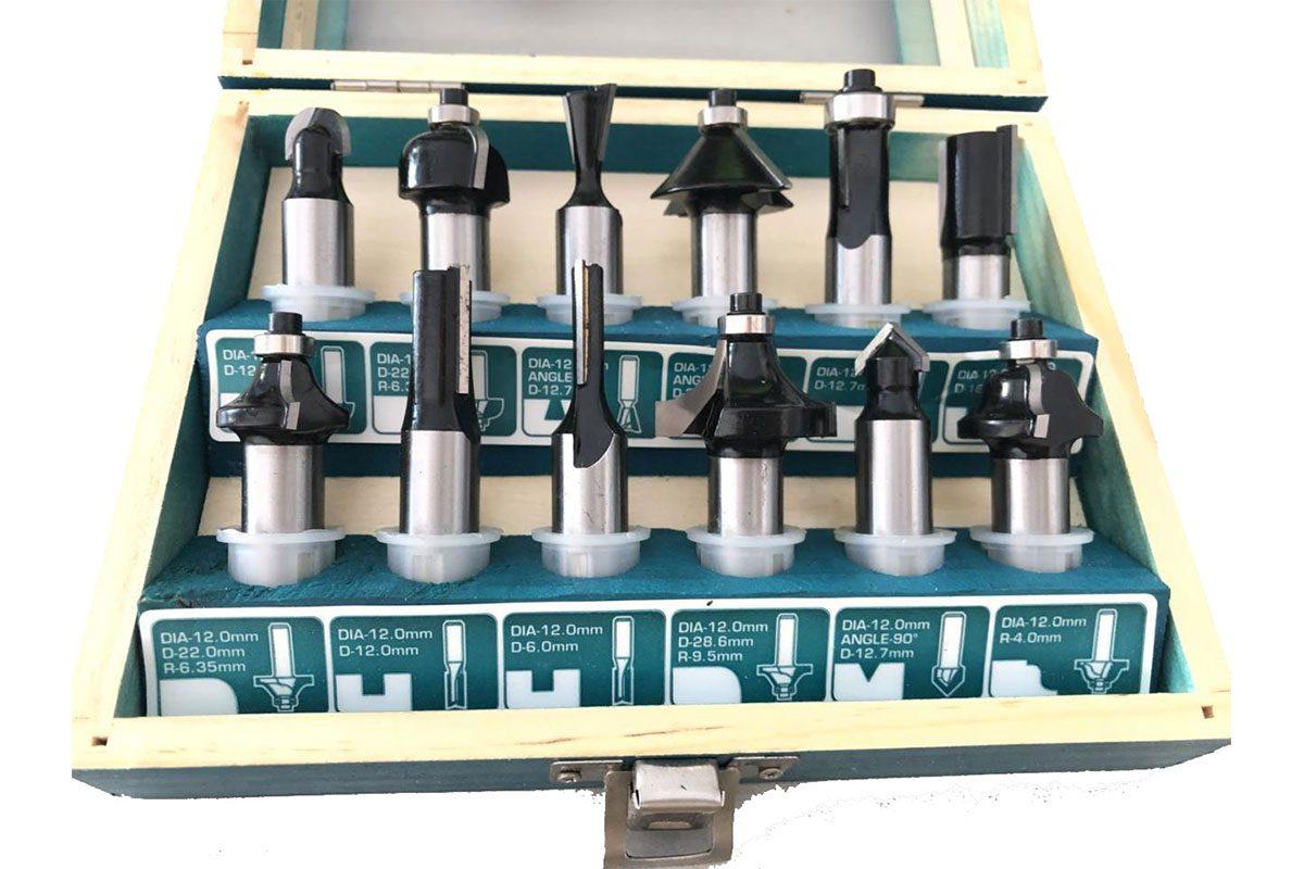 "Bộ 12 mũi phay gỗ 1/4"" 6.3mm Total TACSR0104121"